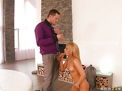 hot blonde sucks a big cock