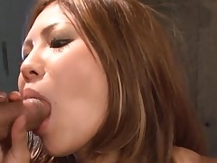 Large bra buddies Oriental gets her taut slit thrashed in hawt group sex