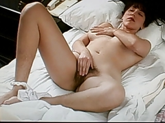 hairy pitts,legs and pussy, playing with her nice nipples.