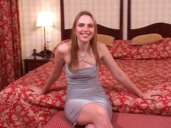Cute girl in a tight excited dress gives head