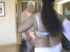 Chunky babe from India grinding on white old man's meaty cock