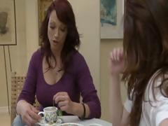 Two horny brunette MILF's have tea party and lick each others pussy