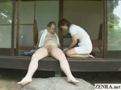 Japanese CFNM countryside cock cleaning service with breasty girls