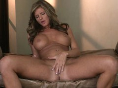 Wicked big breasted babe Daisy Lynn gets stripped and spreads her sexy legs eagerly. She rubs her snatch non-stop and slides her fingers inside. Her tight hole is so wet!