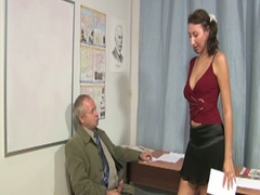 Old teacher gets brunette to suck and fuck