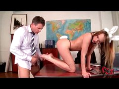 Fun bunny girl footjob and cumshot in her shoes