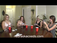 Hot college women play strip poker
