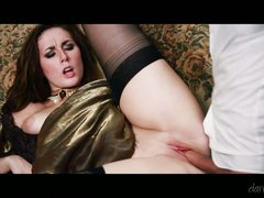 Dark haired lady Paige Turnah in nice long dress and black stockings acquires her hairless pink pussy dressed in variety of positions by fuck-hungry man