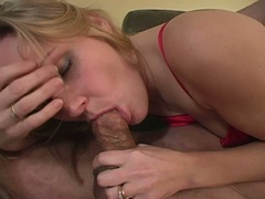 Blonde wife comes home from a short day of work to a horny hubby