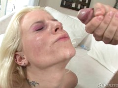 Haley Cummings gets her face slashed with hot cum