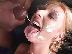 Tracey Lane gets her face showered in hawt cum