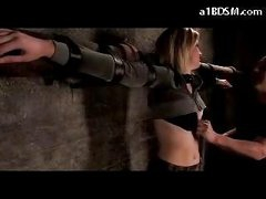 Blonde Beauty Tied To Cross Belly And Ass Spanked Tits Rubbed In The Dungeon