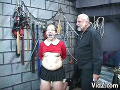 This cute but daring slutty bitch in eyeglasses is one of this cold-blooded master's next victims. This babe is forced to with stand violent orgasms while her fragile body gets tortured. One is a screw is used on her very tender nipples and a lot more. Wh