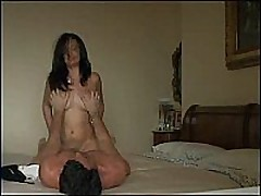 Beautiful big-breasted girl rides her man hard