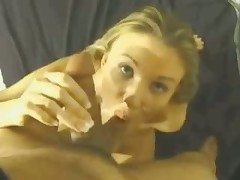 Blonde eats cum after BJ