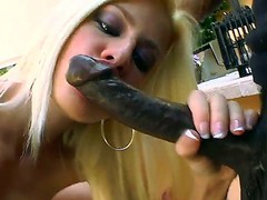 Blonde hottie Jessie Volt kneels and unfathomable blows this black dudes huge cock