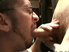 Guy with beard sucking huge rod