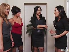 four hot babes suck their bosses cock