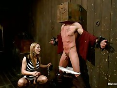 Blonde milf Tanya enjoys being Casey`s mistress and plays hard with his balls. He has his hands tied up to the wall with a box on his head. She likes torturing his nipples and making him feel like the slave he is. Casey was a bad boy and now he must receive the right punishment! Watch how his balls tremble.