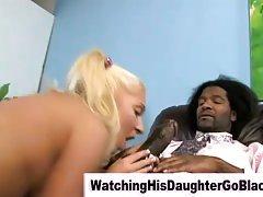 Interracial black guy copulates white teen gal