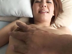 Pretty Oriental mother i'd like to fuck sucks on hard schlong and her hirsute cookie fingered