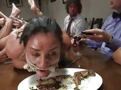 Humiliated Charley Chase eats like a dog