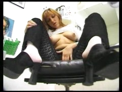 Solo girl in lace teases in barber shop