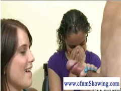 Horny cfnm girls playing with cock at the hair studio
