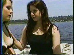 2 girls on boat