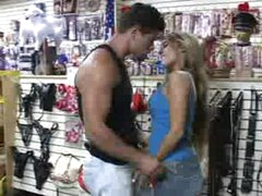 Blowjob in sex shop