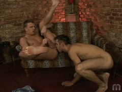 Two gay chaps do some ass licking and fingering