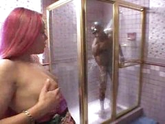 Black girl sucks monster darksome cock in shower