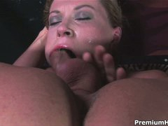 Hot woman Sara Stone with big boobs gets her throat fucked with no mercy by guy with rigid cock. This babe takes his meat pole so deep that touches his balls with her lips from time to time.