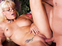 Blonde haired four-eyed milfy librarian Heidi Mayne has a wonderful time egtting her hairless neat slit drilled by horny hard dicked dude after she blows his dick. She has sexy tattoos all over her hot body.