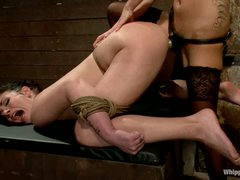 Andy San Dimas is back afresh as a serf girl. Sexy brunette gets restrained. tortured and ruthlessly strapon screwed by hot blooded lesbian dominatrix Gia Dimarco.