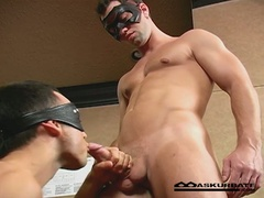 Masked men suck cock and bang ass