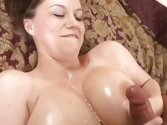 Big titted Sara Stone gets her tits glazed with hot cum