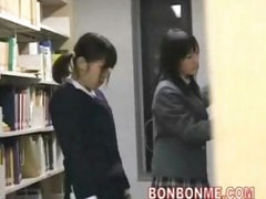 cute schoolgirl fucked and facial cumshot by geek in library