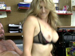 Cory rides hunter 10-Pounder in the backroom of her convenience store