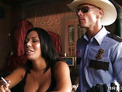 This horny policeman finds a nice milf in a bar and when she sees him she grabs him by the collar and starts getting horny. He takes her big hot boobs out squeezing and kissing them and after that grabs this slut by the neck and gives her his cock. Watch her as she sucks his dick with pleasure, is she going to receive some spunk?
