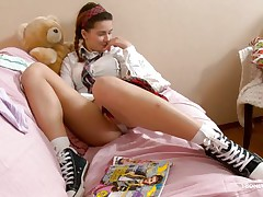 schoolgirl being dirty with herself