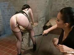 sexy brunette having fun with a beautiful ass