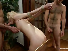 golden-haired tied and banged by big dicks