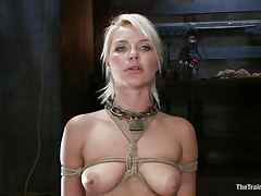 She's a thin sexy blonde with a pair of lips that are flawless for sucking cock and a bubble booty that demands some serious fucking. Watch her as she's tied up and hangs there while the bald guy fucks her cunt hard and his friend takes care of her mouth. She enjoys a ruff fuck, will this babe have a fun some semen too?