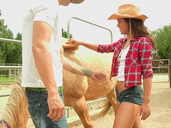 Freaky cowgirl sucking big cock
