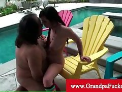 Nasty latina banged by old man jock