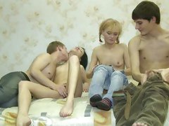 sexy Euro teens in group actions fucking and sucking every other