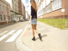 Slender brunette Nika is in a casting video teasing and posing