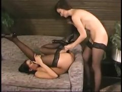 Ladies in nylons ding-dong banging