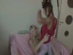 lesbians fucking with strap vibrator